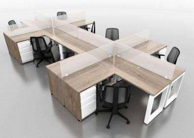 Puestos oficina - escritorios de trabajo en L